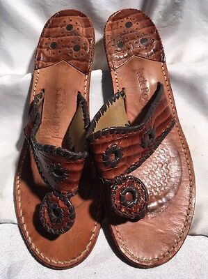 Jack Rogers Women's Brown And Black Leather Sandals W/ Heels Size 9