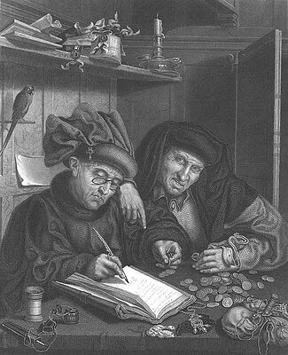 RICH SCROOGE MISERS Bankers Count Money Changers ~ Old 1860 Art Print Engraving