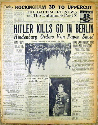 2 1934 newspapers GERMANY Adolph Hitler purges his Nazi rivals NIGHT LONG KNIVES