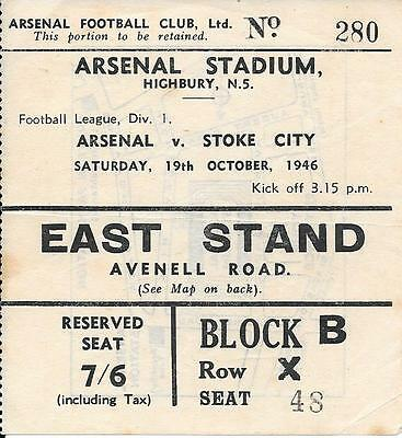 Ticket Arsenal v Stoke City 1946/47