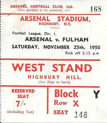 Ticket Arsenal v Fulham 1950/51