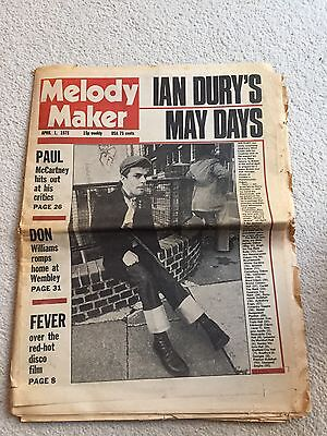 Melody Maker April 1 1978. Ian Dury Cover, McCartney,don Williams, Blonde,