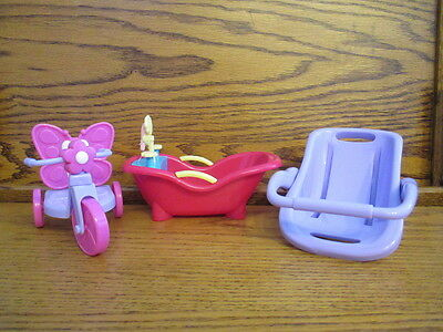 "Berenguer 5"" Doll Furniture Miniature Trike Tub Carrier Play Props Display Lot"
