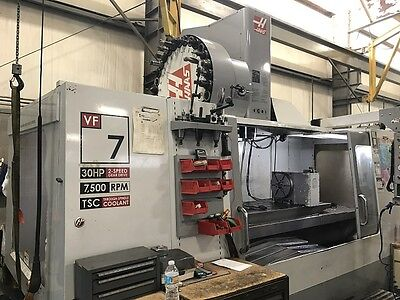 HAAS VF-7 CNC Mill #50 4th Axis TSC Probes 30 tools 30HP 2 Speed Gearbox 2005