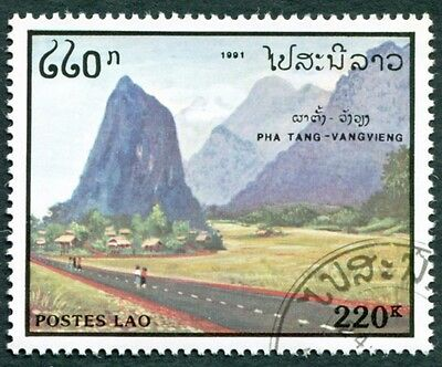 LAOS 1991 220k SG1244 used NG Tourism Pha Tang mountains Vangvieng #W31