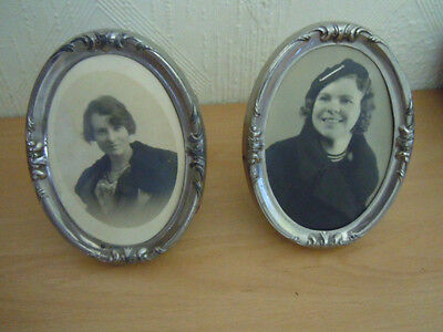 Pair Of Vintage Oval Chrome Art Nouveau Photo Frames