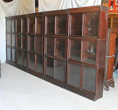 Antique Danner Oak Bookcase Wall unit of 5 units Each 3 sections high Impressive