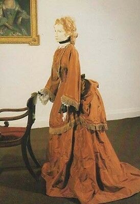 Pauline De Bush Fashion Postcard 1870 Victorian Brown Silk Bustle Gown Ballgown