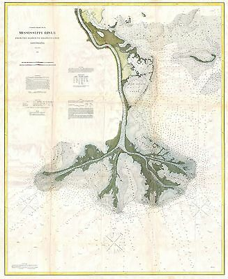 1874 Coastal Survey Map of the Mississippi Delta
