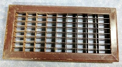 "Vintage Cast Iron Heating Grate Register for Floor Vent - Brown - 16"" x 8"""