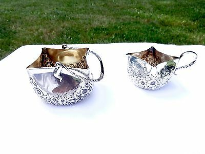 Antique Whiting Co. Handkerchief Repousse Sterling Silver Creamer & Sugar Basket