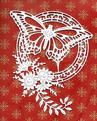 New Tattered Lace Red Admiral Butterfly Flower  Die Cuts-  White Topper Garden