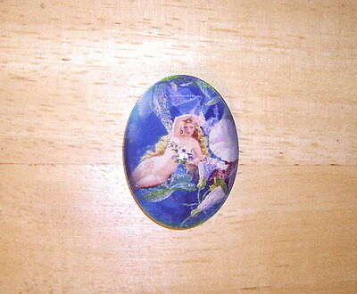 Fairy On A Branch 30X40mm Glitter Unset Handmade Art Bubble Cameo Cabochon