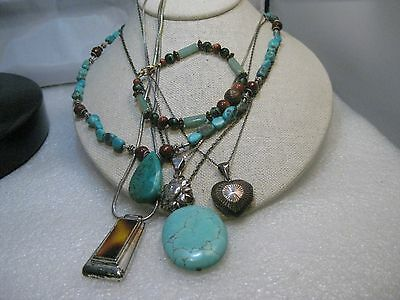 Southwestern Sterling Necklace & Bracelet Lot, One Turquoise/Agate, Locket, more
