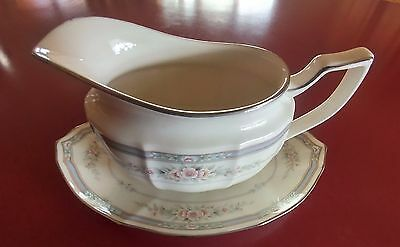 "Noritake Ivory China 7293 Rothschild 8"" Two Piece Gravy Boat Mint Condition"