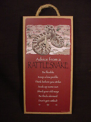 ADVICE FROM A RATTLESNAKE Wood INSPIRATIONAL SIGN wall NOVELTY PLAQUE snake NEW