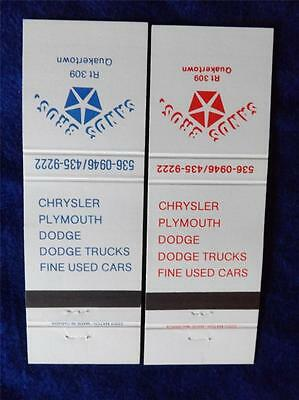 Chrysler Plymouth Dodge Truck  Sands Brothers Car Dealer Vintage Matchbook Cover