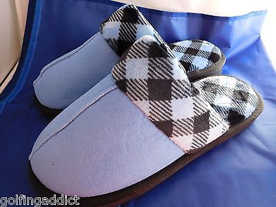 Vera Bradley Cozy Slippers BLUE large 9 - 10   Alpine check  trim fleece lined