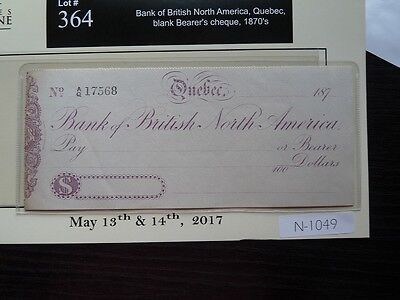 CANADA 1870 BANK OF BRITISH NORTH AMERICA QUEBEC BLANK BEARER CHEQUE  n1049