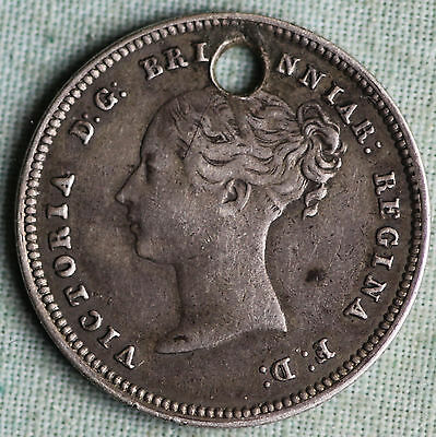 Great Britain 1855 4 Pence~Silver~KM#732~4158 Mintage~Holed~Combined S.& H.