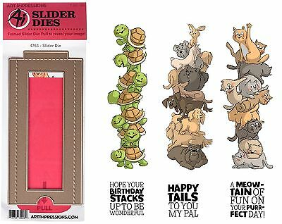 Art Impressions Stacker Stamps x 3 & Slider Die - Cats, Dogs & Turtles