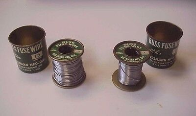 2 Vintage Bussman Buss Fuse Wire Tin Spools 3 AMP & 15 Amp
