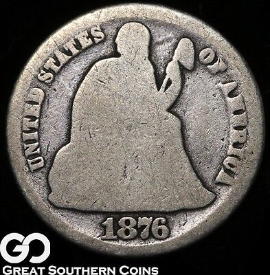 1876-CC  Seated Liberty Dime, Tough Carson City Silver Coin!