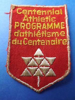 Canada Centennial 1967 Athlete Program Award Patch Vintage
