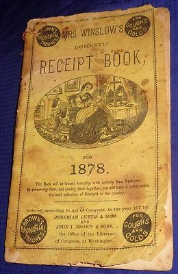 SE507 Vtg Mrs Winslow's Domestic Receipt Book 1878 w/ Handwritten Inserted Pages