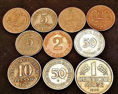 10 Old German & Austria Coins, 1860, 1896, 1899 & Later with Great Mix