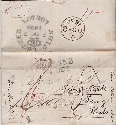 1830 Entire From Coblenz With Perfect Strike Ship Letter London Crown Cancel