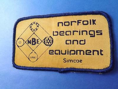 Norfolk Bearings & Equipment Simcoe Canada Patch Vintage Employee Collector
