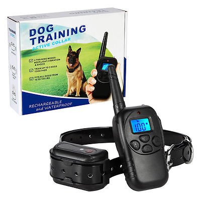 Pet Dog Electric Shock Vibrate Training Collar Rechargeable Waterproof W/ Remote