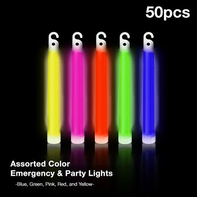 """50PCS NEON Thick 6"""" Glow Sticks Fat Party Necklaces Light Assorted Lanyard Favor"""