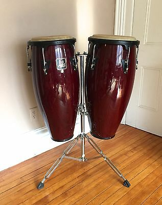 WOOD CONGAS PAIR LP ASPIRE DRUMS with STAND