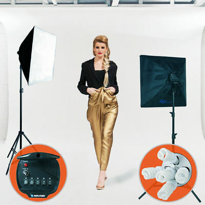 2500W Softbox Light Kit Photo Studio Video Photography Stand Continuous Lighting