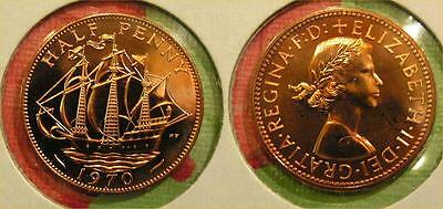 1970 Great Britain Half Penny Coin Proof QEII Ship