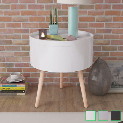 vidaXL Side Coffee Table Storage Decor with Serving Tray Round White/Black/Grey
