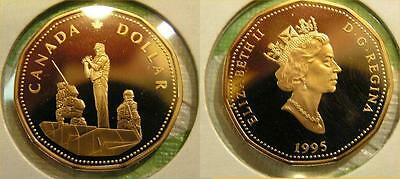 1995 Canada Frosted One Dollar Peacekeeper Loonie Proof