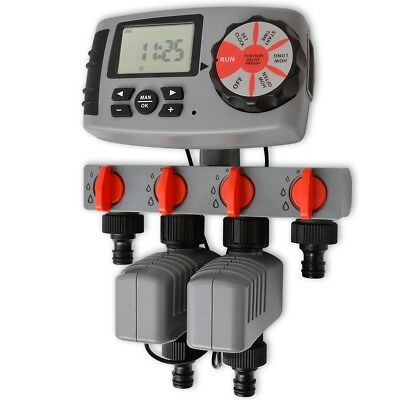 vidaXL Automatic Irrigation Water Timer Controller with 4 Stations 3 V Garden