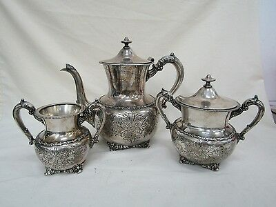 Derby Silver Co. Quadruple Plate 3pcs Tea Set