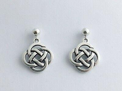 5mm Sterling Silver ball stud with Pewter Round Celtic Knot dangle Earrings