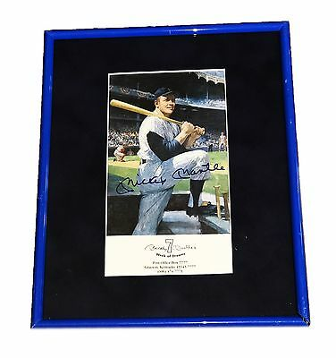 Mickey Mantle Hand Signed Autographed Framed Photo With Coa Very Rare Yankees