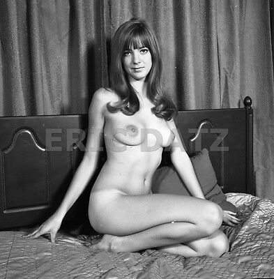 60s Castano Negative, seductive nude pin-up girl Chris Thorniton on bed, t978743