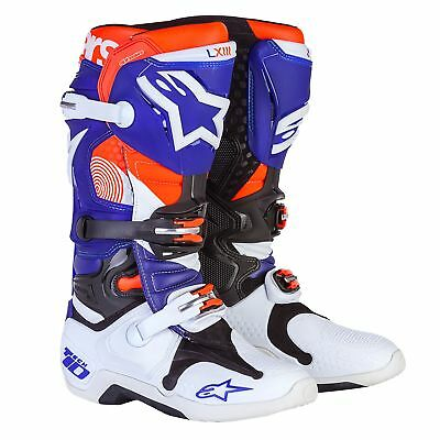 Alpinestars Tech 10 Indianapolis CE Motocross Boots - White / Blue / Orange
