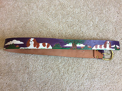 Vintage Diane Weiss NYC Mabel's Leather Hand Tooled Painted Cocker Spaniel Belt