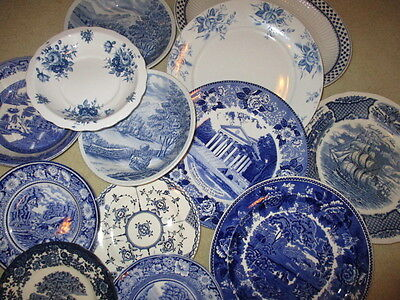 Vintage Blue & White Scenes & Floral patterns Tableware plates & bowls - job lot