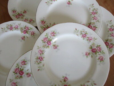 Vintage pretty Duchess china pink June Bouquet 6 Tea plates in lovely condition