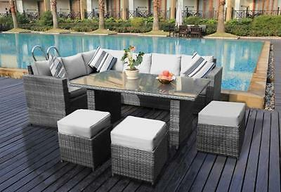 Yakoe Conservatory Outdoor Rattan Garden Furniture Set 9 Seat Corner Dining