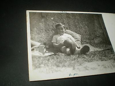 social history 1930's cute boy socks football fashion rp photo postcard